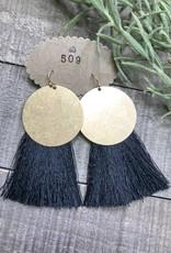 Fringe Tassel Circle Earring  Black 