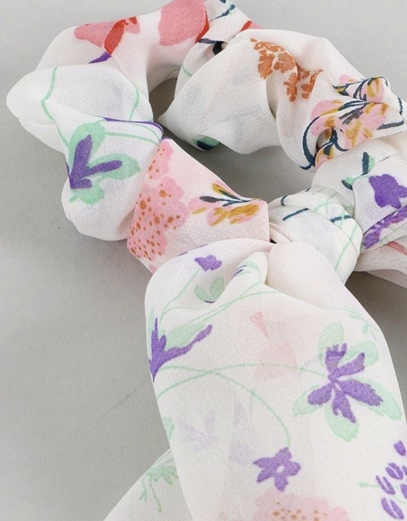 Floral Print Ponytail With Detachable Scarf