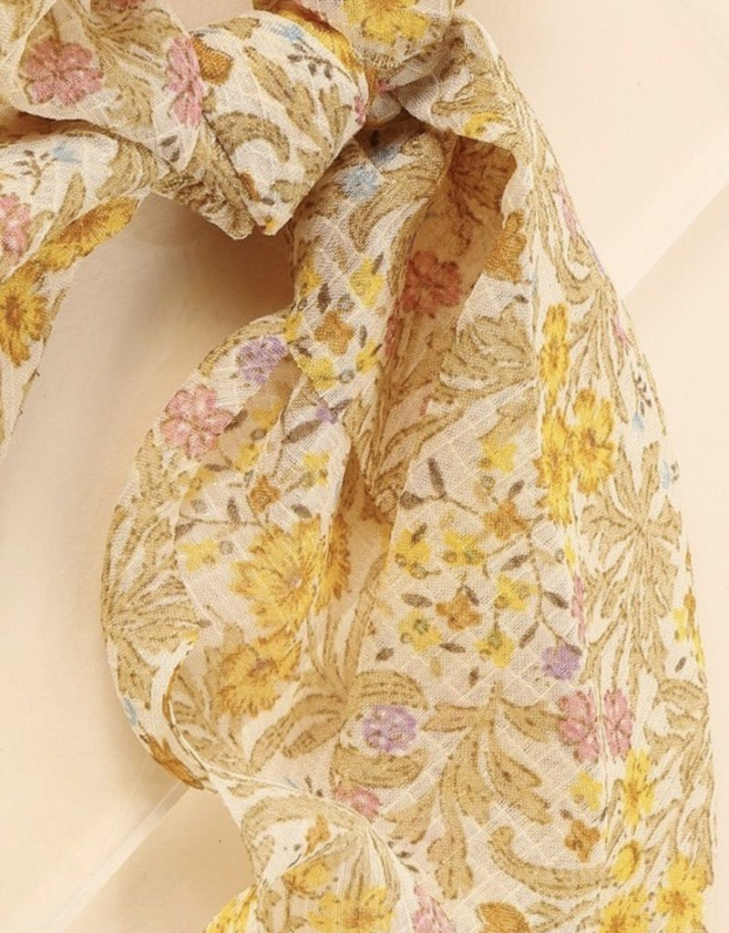 Floral Print Ponytail Scrunchies With Detachable Scarf