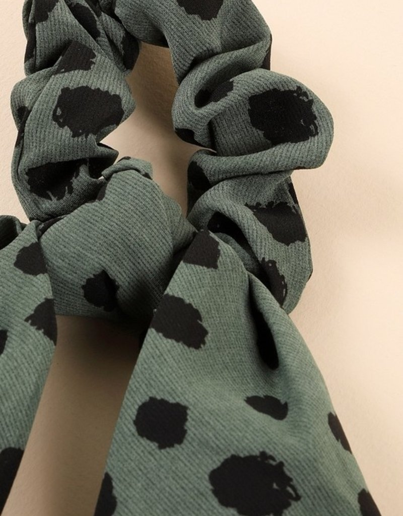 Spotted Print Ponytail Scrunchies/Detachable Scarf