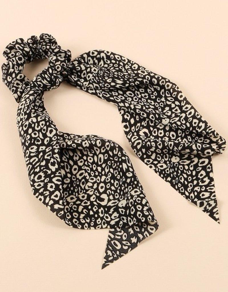 Leopard Print Ponytail Scrunchies/Detachable Scarf