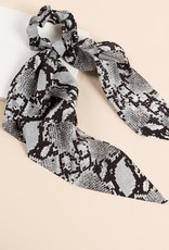 Python Print Ponytail Scrunchy With Detachable Scarf