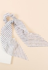 Striped Ponytail Scrunchie With Detachable Scarf
