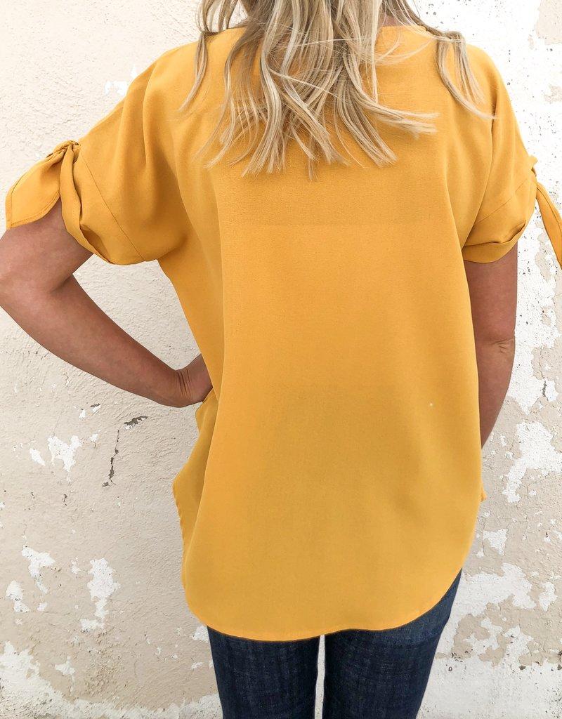 Bow Sleeve Silk Top