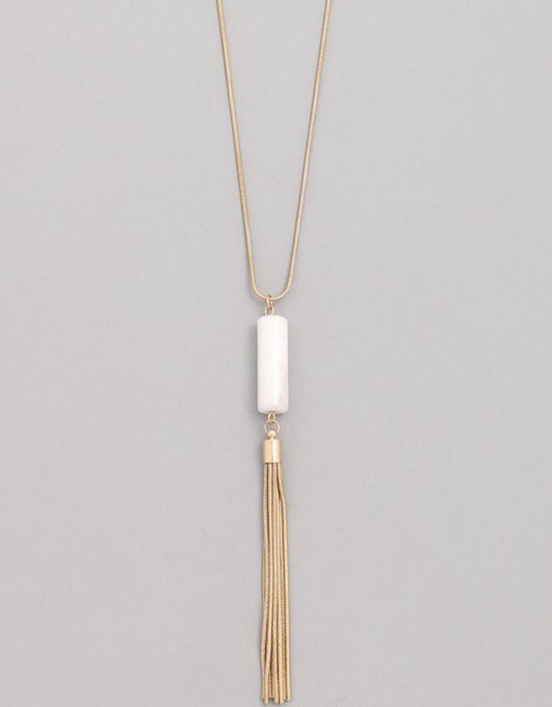 Cylinder Stone Fringe Necklace