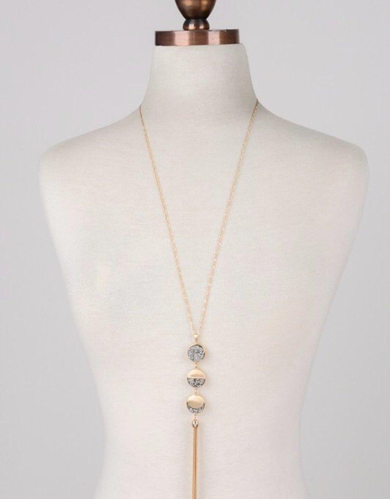 Three Stone Charm Necklace