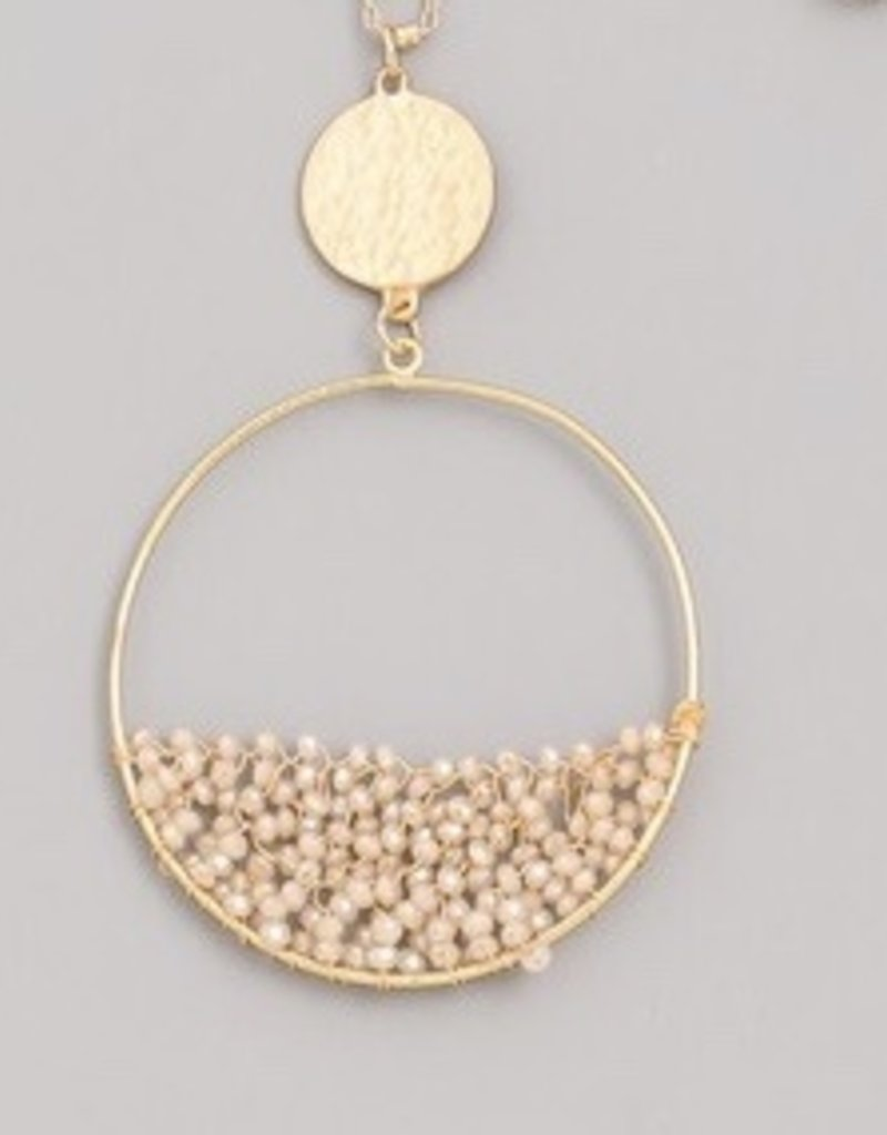 Mini Beaded Circle Pendant Necklace
