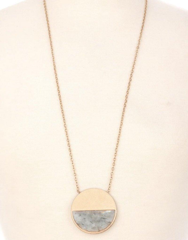 Half Stone Pendant Necklace