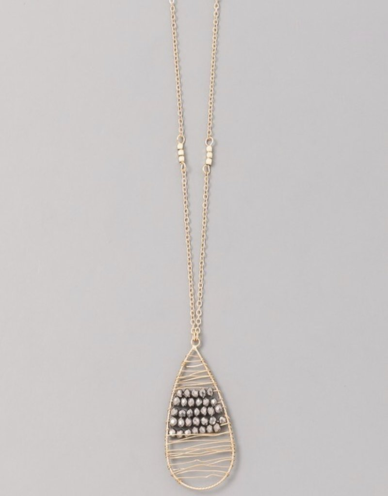 Beaded Stone Teardrop Necklace
