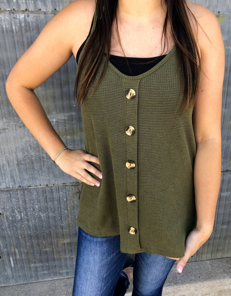 Solid Tank Top With Front Buttons