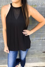 Banded High Neck Sheer Detail Tank Top