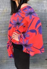 Open Shoulder Floral Knot Top