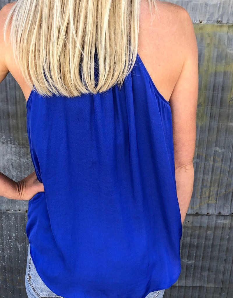 High Neck Button Down Tie Tank