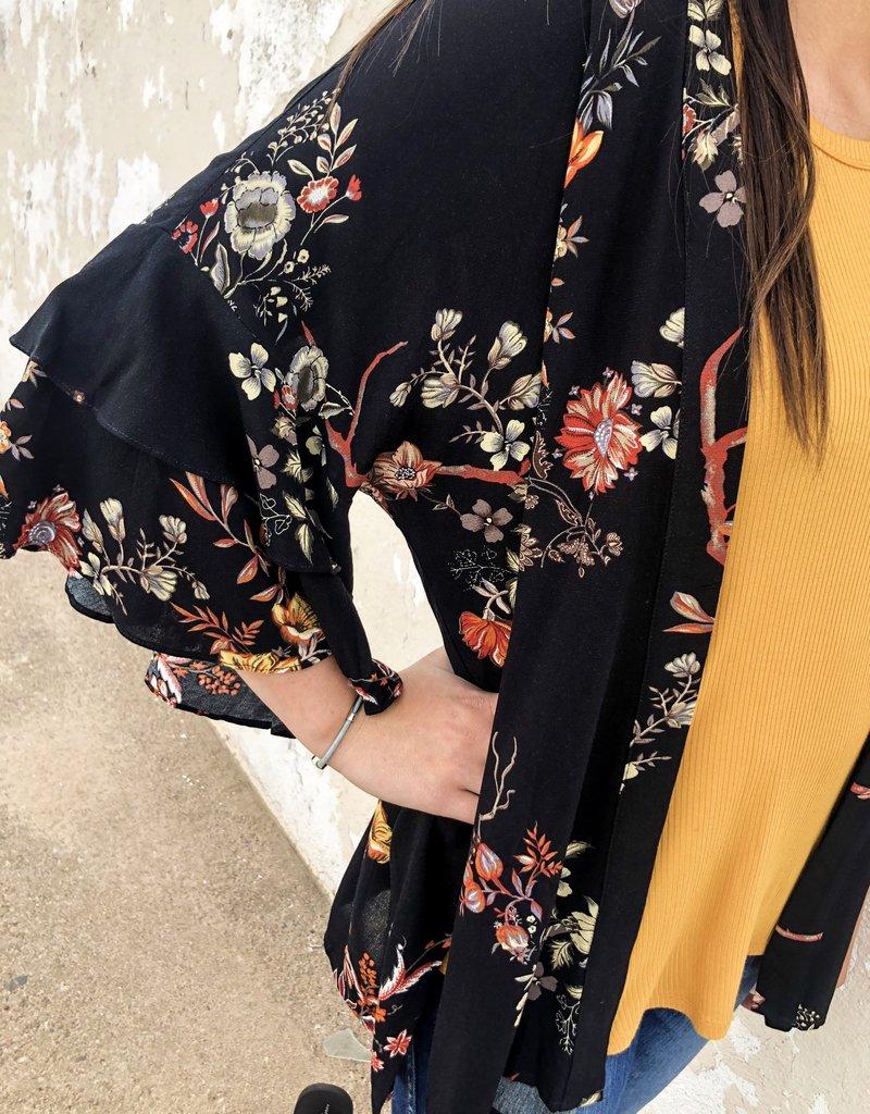 Floral Ruffled Sleeve Kimono