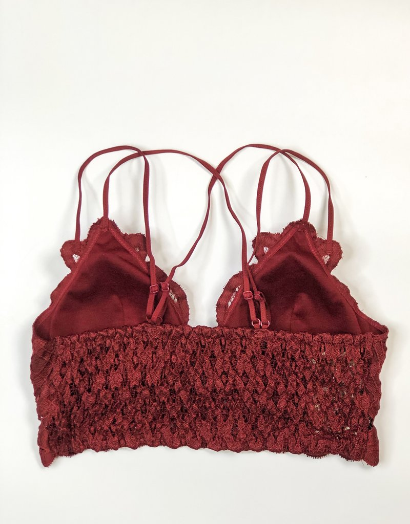 Lace Detail Bralette |Dark Burgundy|