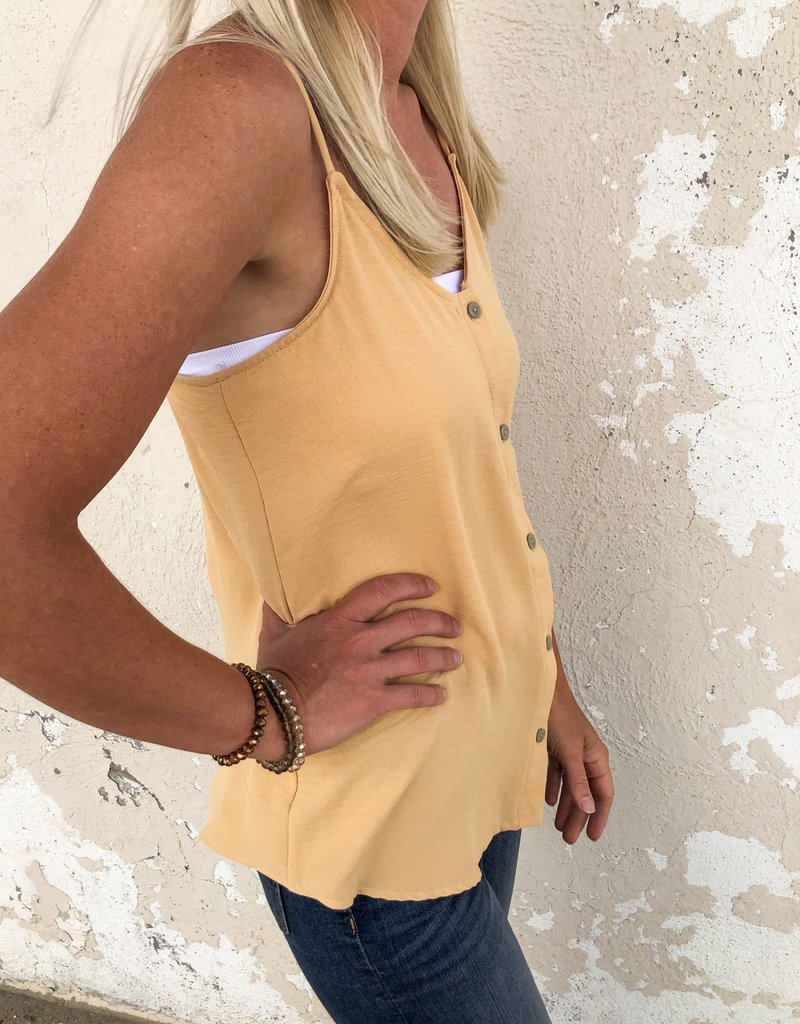 Woven Solid Button Down Tank