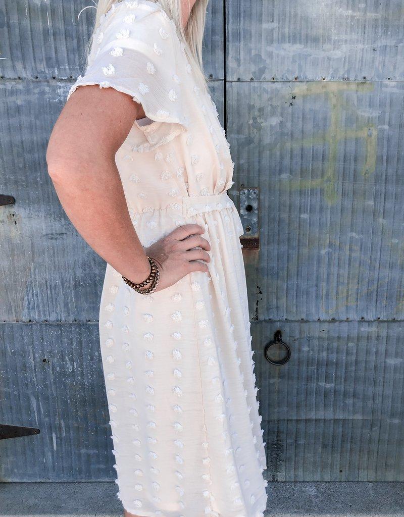 Short Sleeve Swiss Dot Wrap Dress