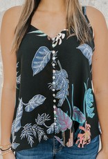 Printed Button Front Tank