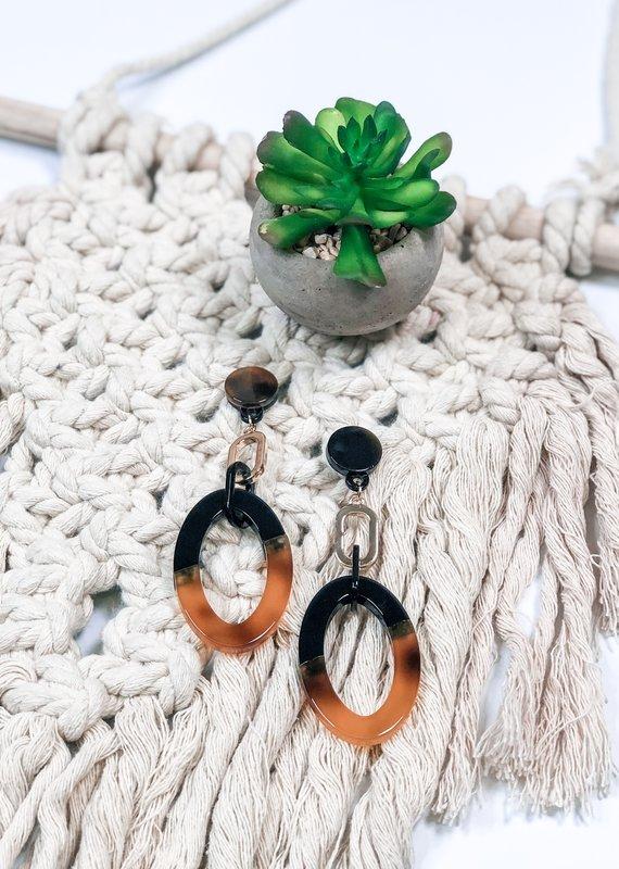 Acrylic Linked Oval Earring