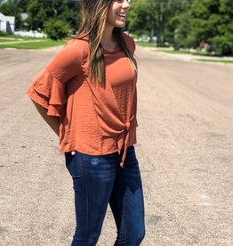 Bell Sleeve Front Knot Top