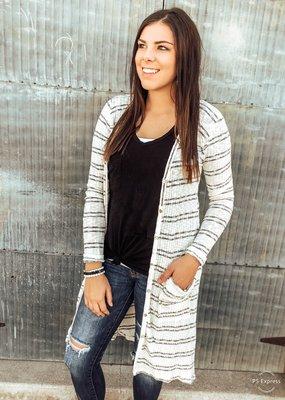 509 Broadway Cotton Striped Knit Cardi