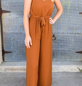 Solid Woven Smock Jumpsuit