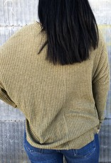 Long Sleeve Fleece Waffle Top
