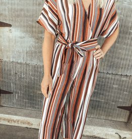 Striped Jumpsuit with Front-Tie