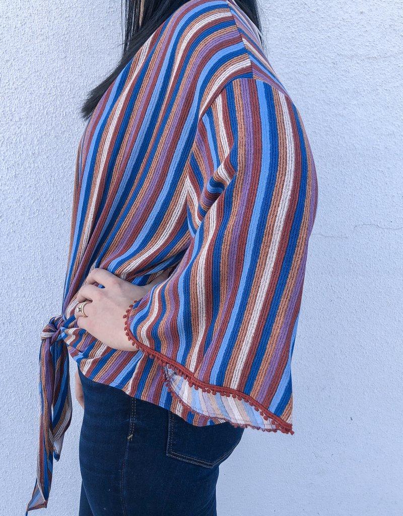 Color Stripe Printed Tie Top