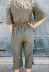 Pin Stripe Button Jumpsuit