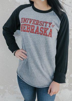 Retro Brand Nebraska Long Sleeve Raglan