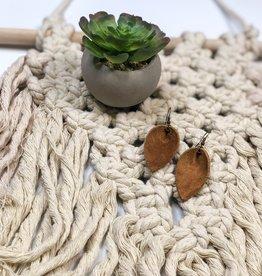 Jones & Lake Co Camel Suede Medium  Leaf Earrings