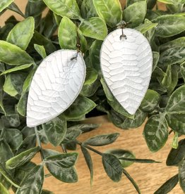 Jones & Lake Co White Braided Leaf Earring