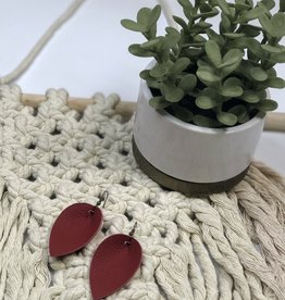 Jones & Lake Co Red LG Leaf Earrings