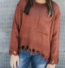 Side Pocket Distressed Sweater