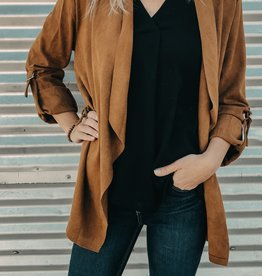 Long Roll Up Sleeve Suede Jacket