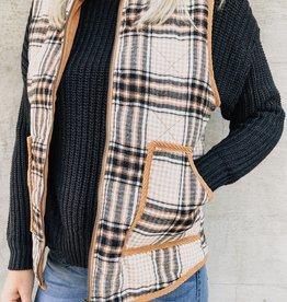 Plaid Corduroy Binding Vest