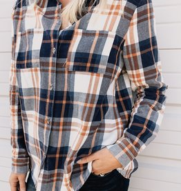 Washed Button Down Plaid Top