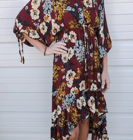 Floral Print Puff Sleeve Maxi Dress