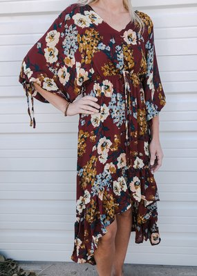 Floral Print Puff Sleeve Maxi Dress