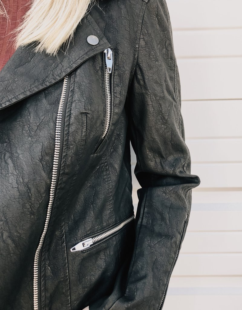 KUT From The Kloth Leni Textured Faux Leather Moto Jacket