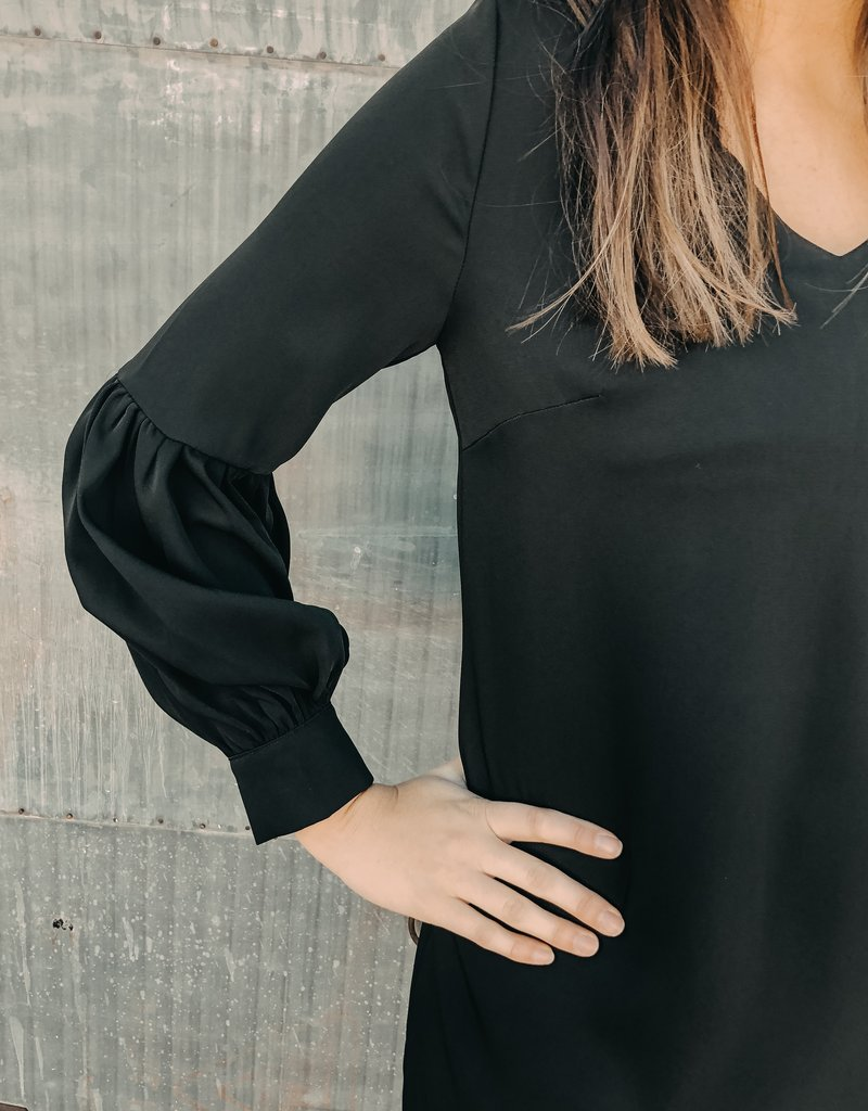 Full Sleeve V-Neck Shift Dress