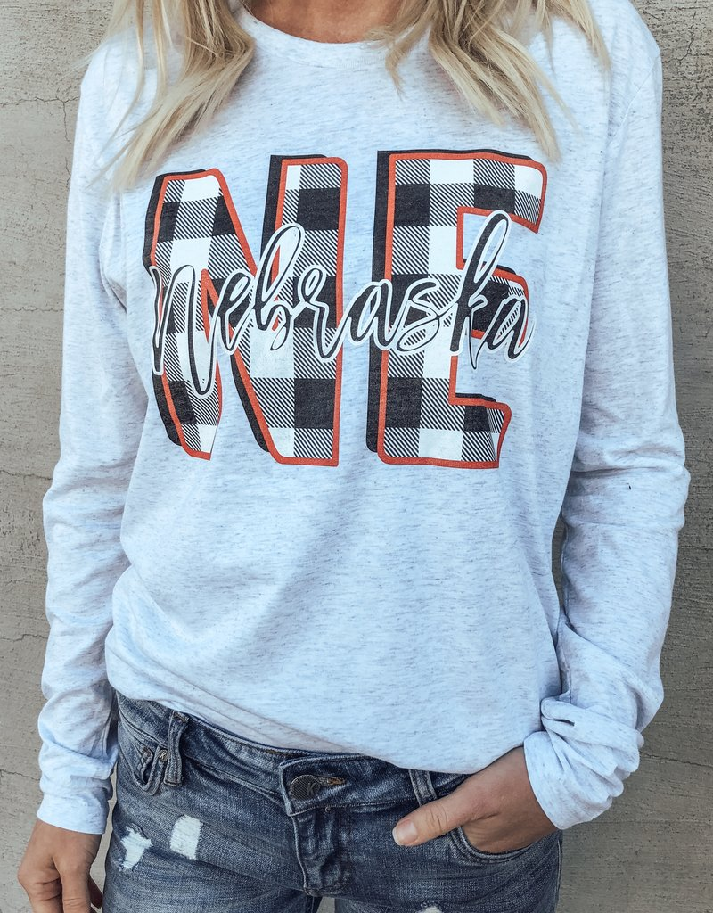 Nebraska Buffalo Plaid Long Sleeve Tee