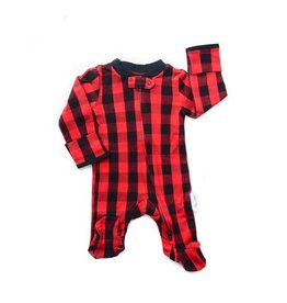 Gigi and Max Buffalo Plaid Newborn Footed Zippered One Piece