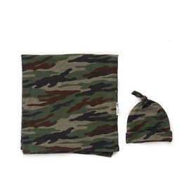 Gigi and Max Camo Swaddle Blanket and Hat Set
