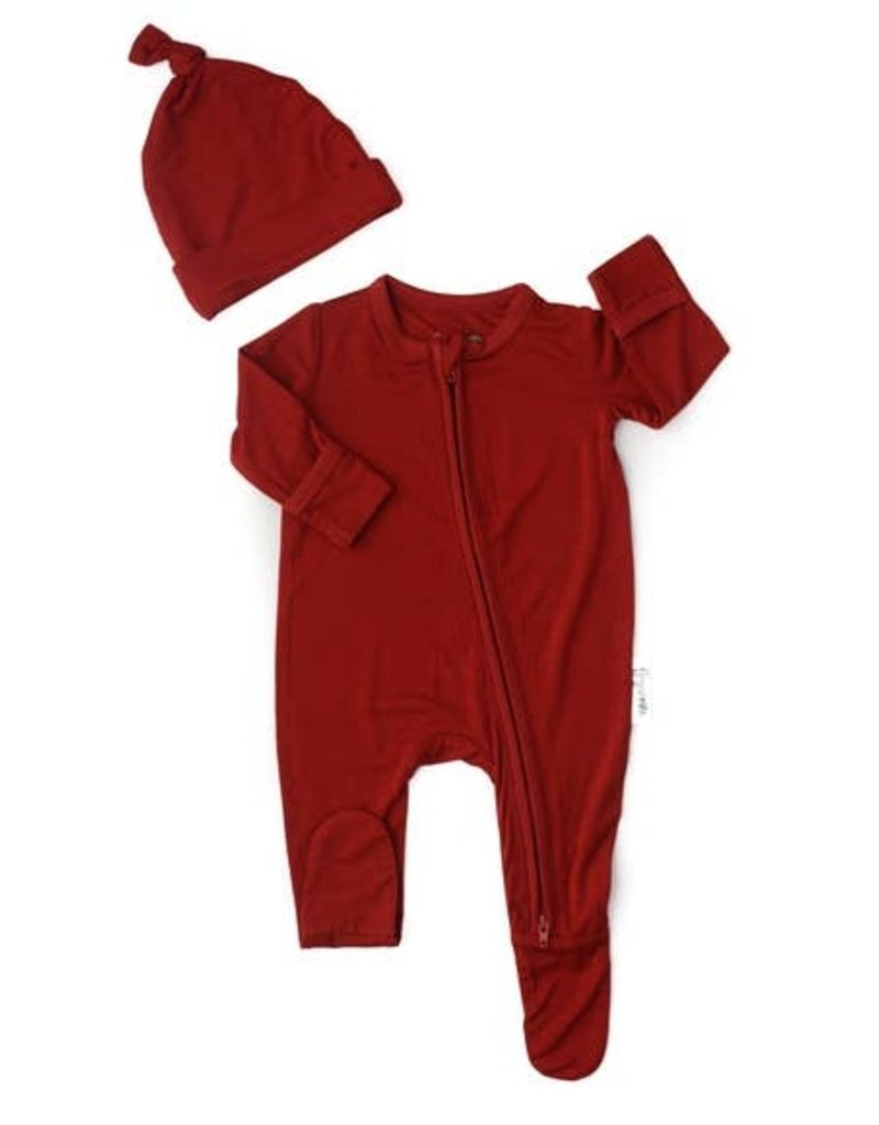Gigi and Max Red Rust Newborn Footed Zip & Hat