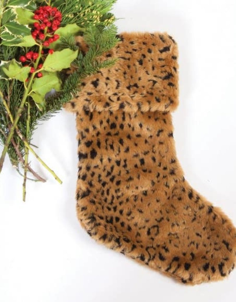 8 Oak Lane Lux Faux Fur Stocking |Leopard|