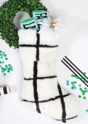8 Oak Lane Lux Faux Fur Stocking |Window Pane|