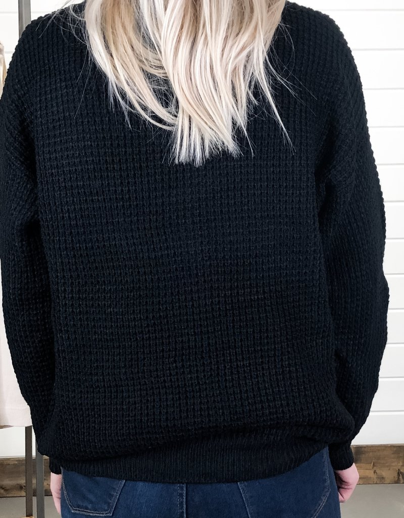 Waffle Knit V-Neck Button Down Sweater