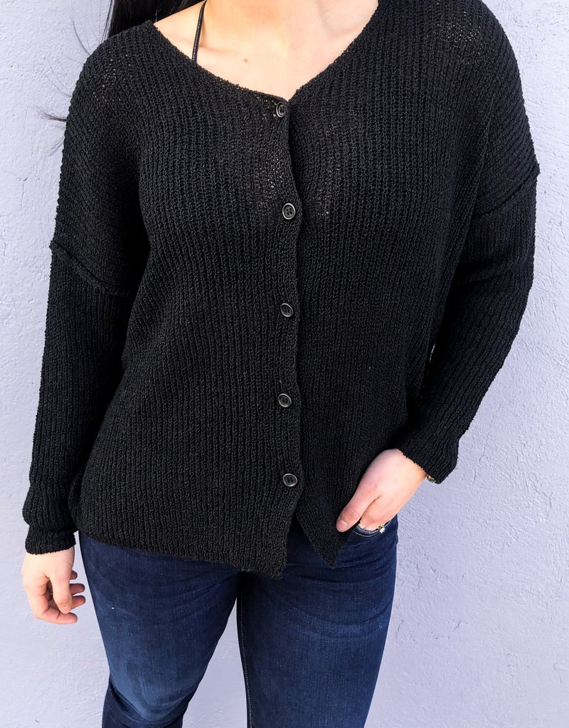 Textured Reversible Button Sweater